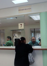 Window 7 at IMSS Health Insurance offices in Merida Yucatan